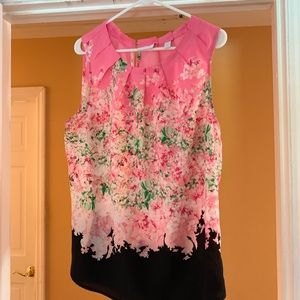 Pink and black sleeveless top